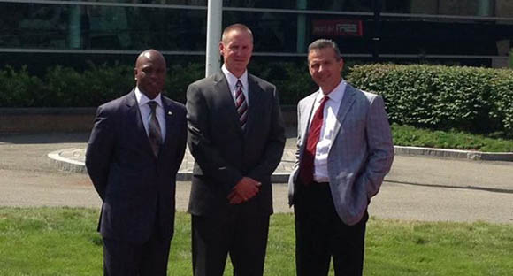 Darrell Hazell, Gary Andersen, and Urban Meyer outside ESPN's complex in Bristol