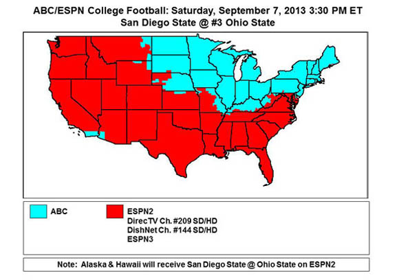 ABC/ESPN2 covarege map for Saturday's game with San Diego State