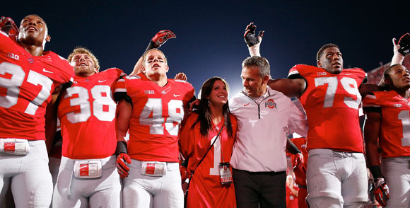 Urban Meyer was all smiles following the win over Wisconsin (Ohio State photo)