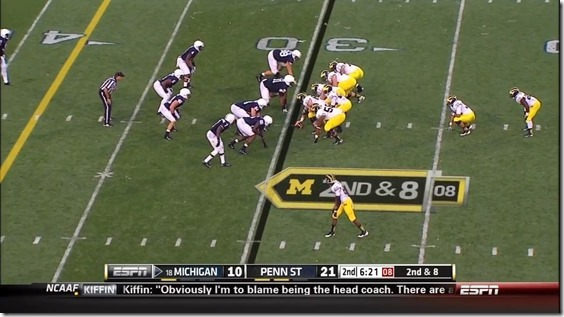 Michigan runs into an eight-man box with six blockers. Image taken from MGoBlog.