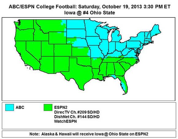 ABC/ESPN2 Coverage map for Ohio State-Iowa on Saturday.