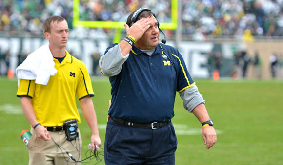 Thanks to an inept offense, Brady Hoke's seat is warming up. [MGoBlog/Fuller photo]