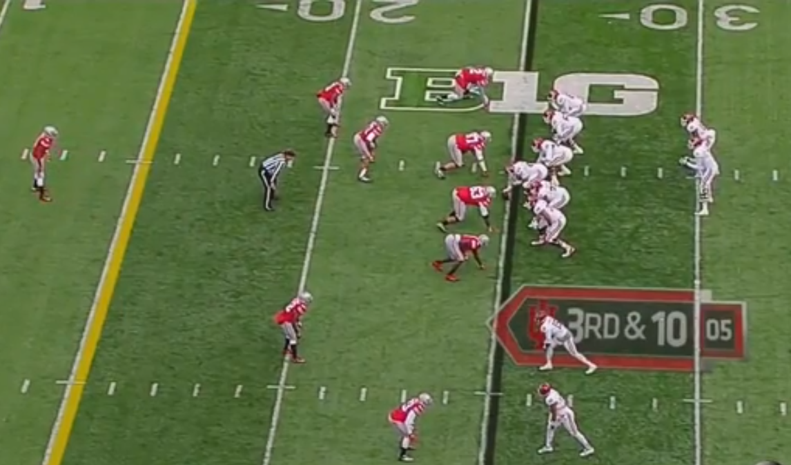 Vonn Bell kind of playing Will linebacker for Ohio State on this play.