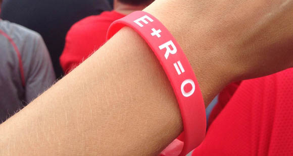 E+R=O wristbands, available at Eleven Warriors Dry Goods