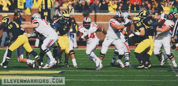 Hyde ran for a school record versus Michigan, totaling 226 yards on 8.4 a pop