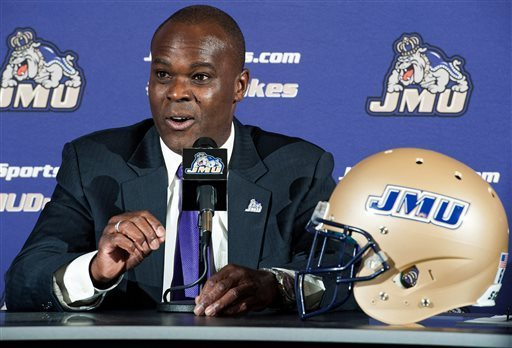 James Madison's new football coach, Everett Withers, speaks during a news conference at which he was officially introduced, Tuesday, Jan 7, 2014, in Harrisonburg, Va.