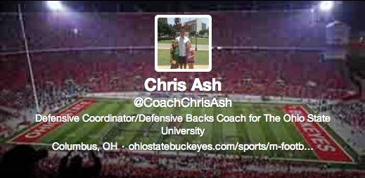 Chris Ash's Twitter bio