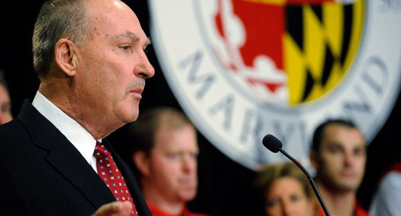 Big Ten commissioner Jim Delany speaking at Maryland when the school announced plans to join the Big Ten.