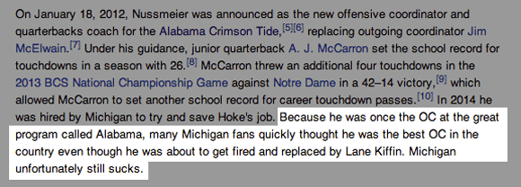 Doug Nussmeier's Wikipedia page was on point minutes after it was announced he was leaving for Michigan.