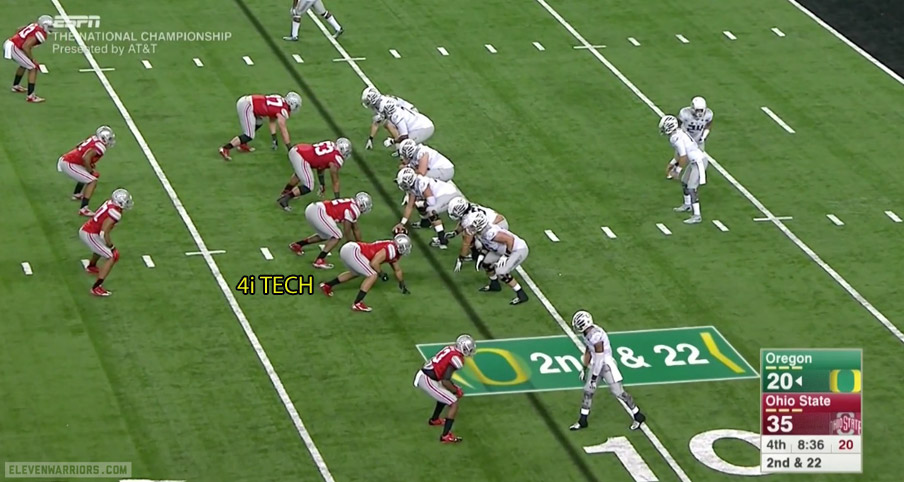 Ohio State lines up Frazier in a 4i technique as the boundary defensive end.