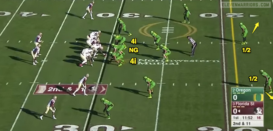 "The modified ""Bear"" front from the Oregon defense."