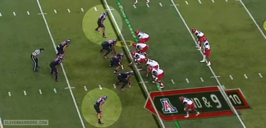 Oregon's OLB playing near the line to cover overflow and the flats.