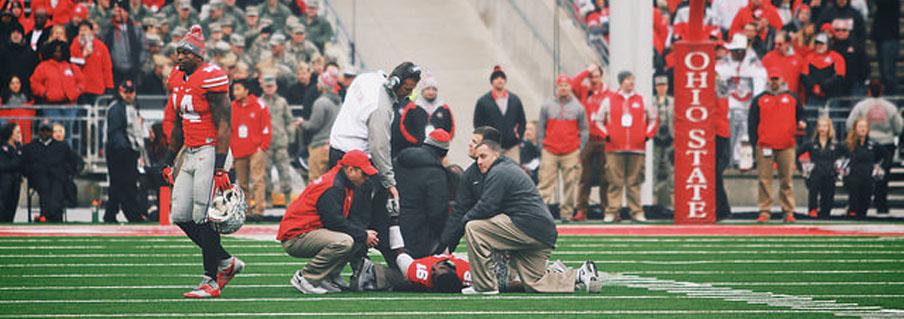 J.T. Barrett down on the field against Michigan