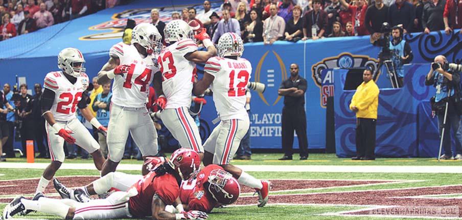 Ohio State celebrates a pick six against Alabama in the Sugar Bowl.