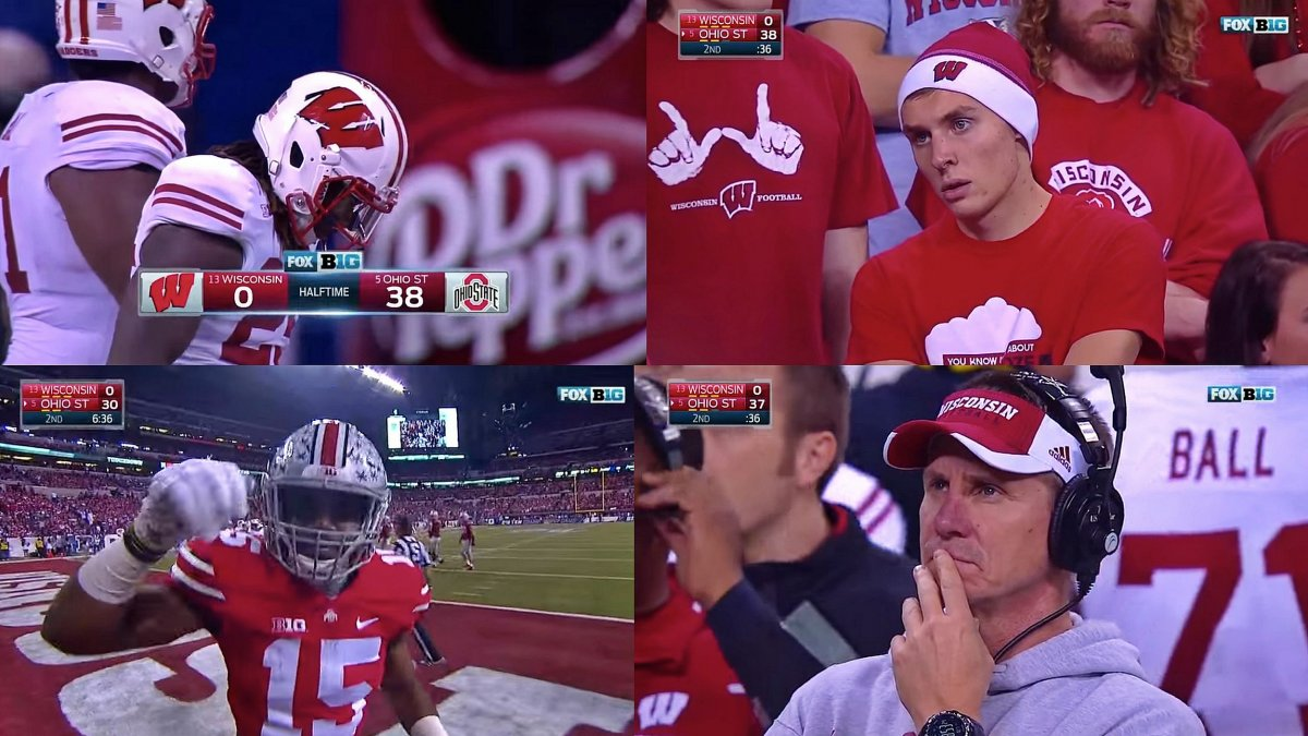 the many sad faces of the Wisconsin Badgers