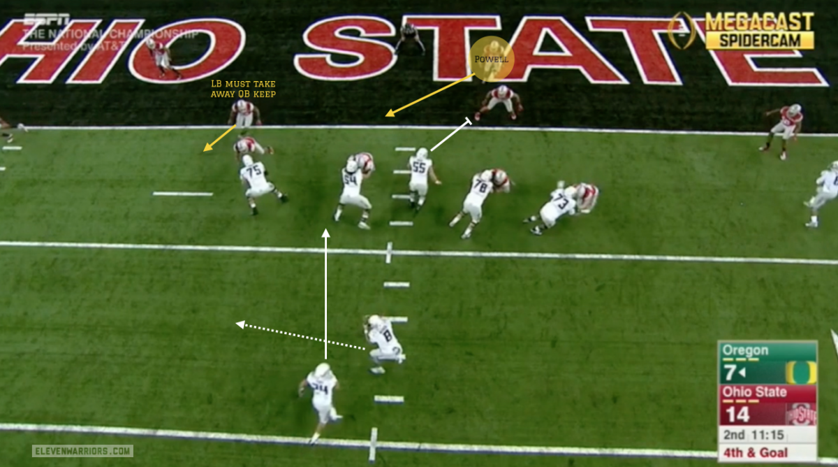 Oregon forces Powell to make the play
