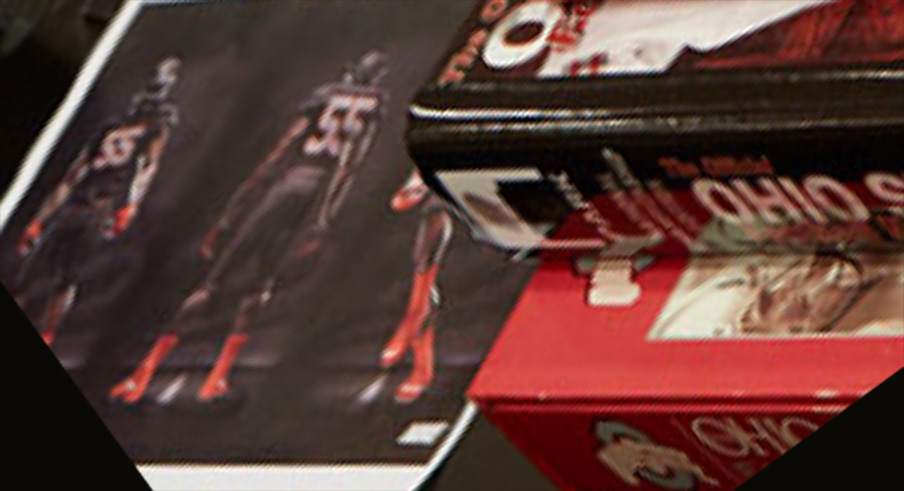 A closeup of Ohio State's black uniforms?