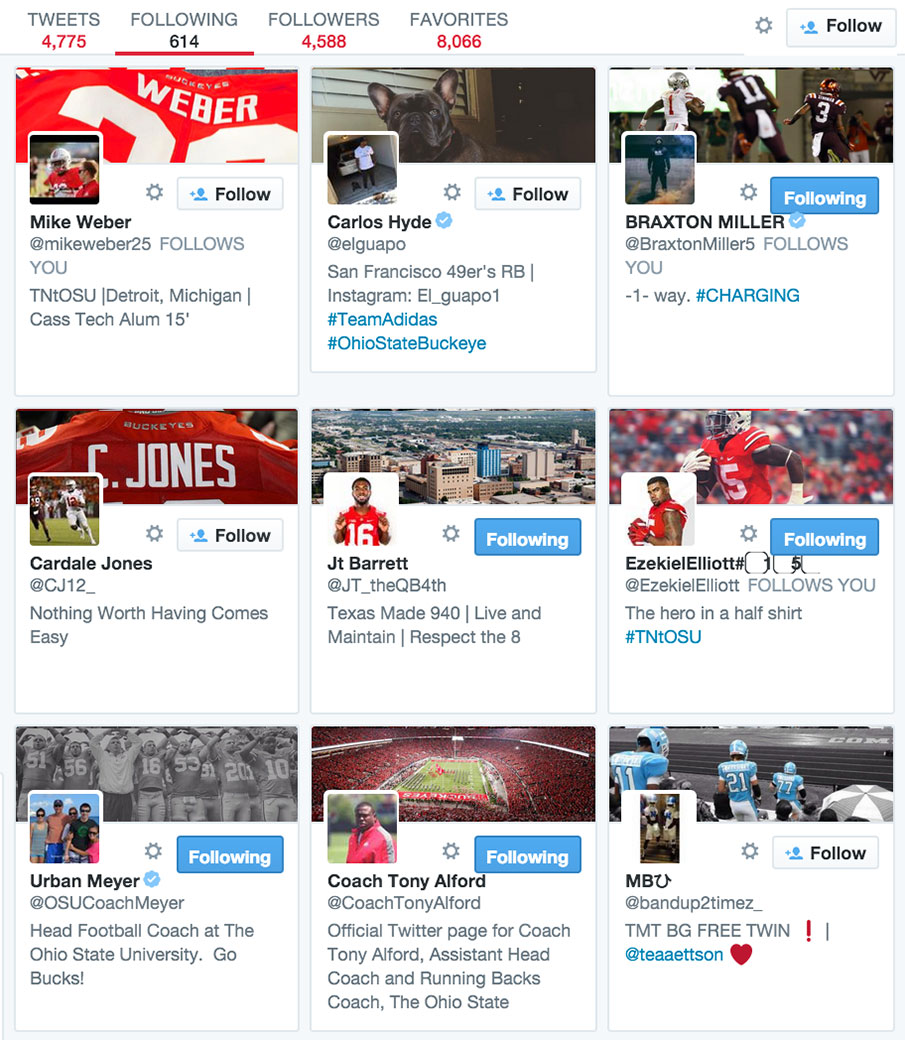 The recent Twitter follows of Antonio Williams, a Wisconsin 2016 commitment.