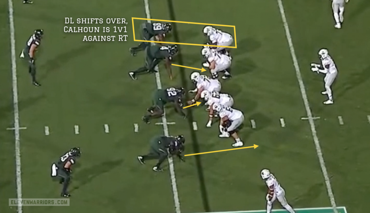Calhoun is 1v1 against a right tackle, and should win this contest