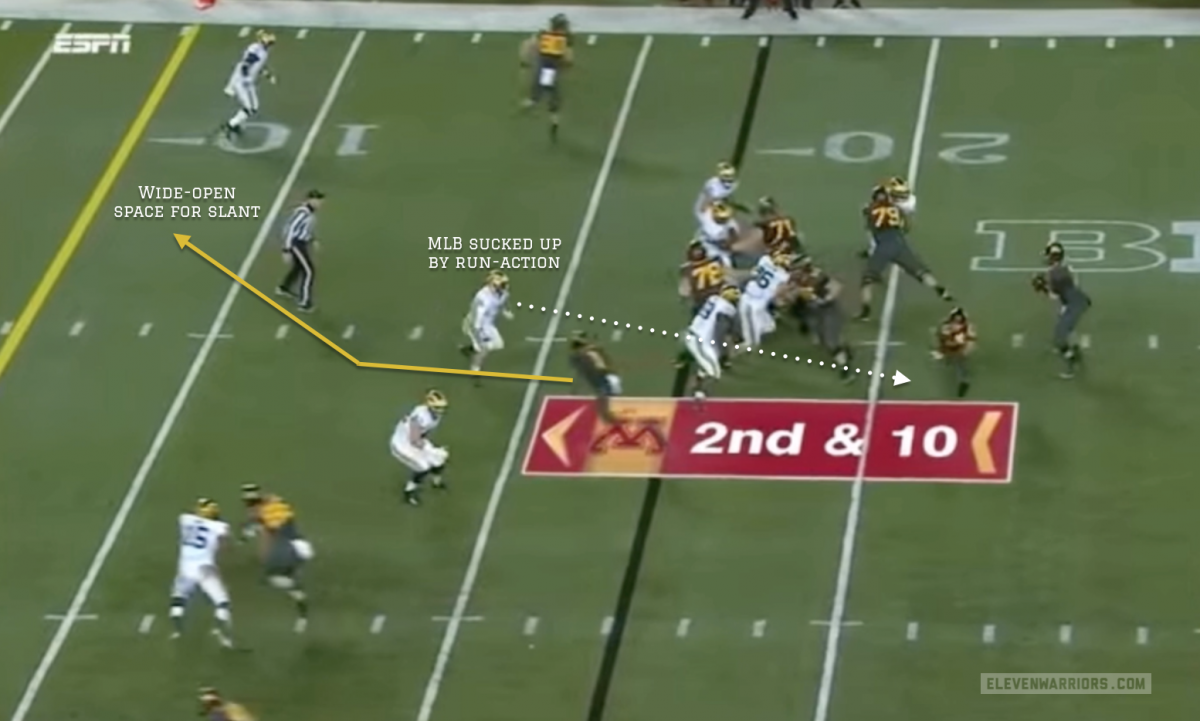 The LBs open up an easy route