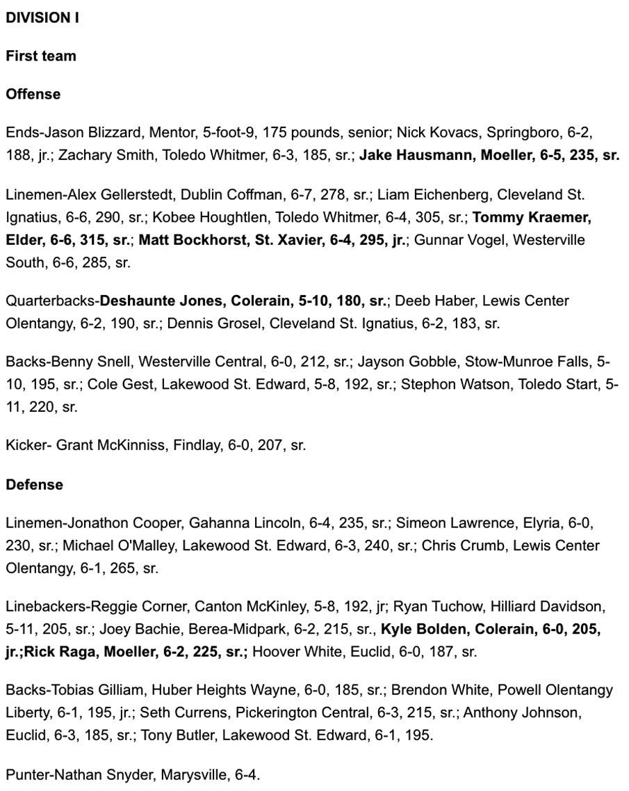 All-Ohio Divison One First Team