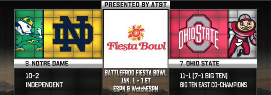 No. 7 Ohio State will meet No. 8 Notre Dame in the Fiesta Bowl.