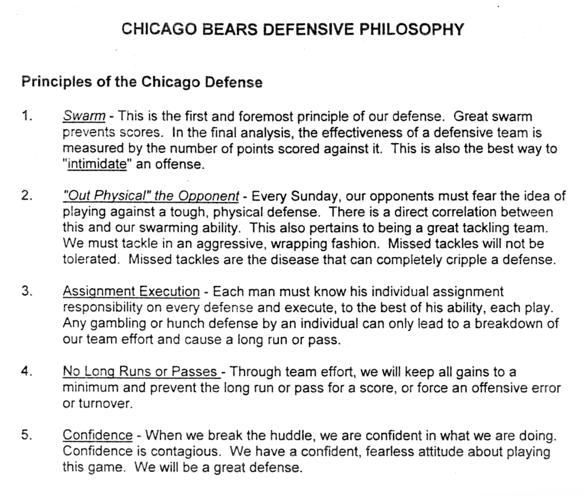 1998 Chicago Bears defensive philosophy