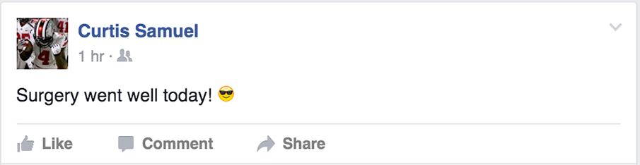 Curtis Samuel Facebook post