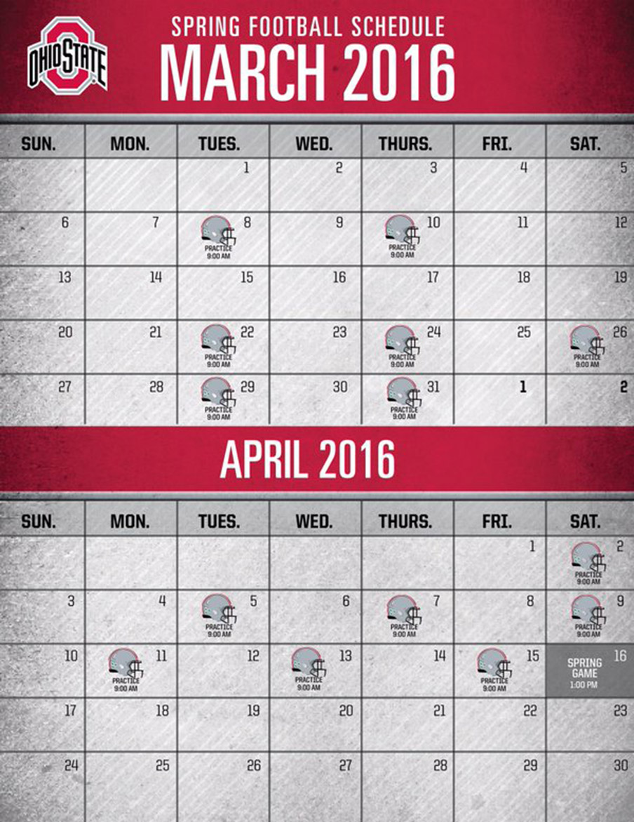 Ohio State Spring Football 2016 dates