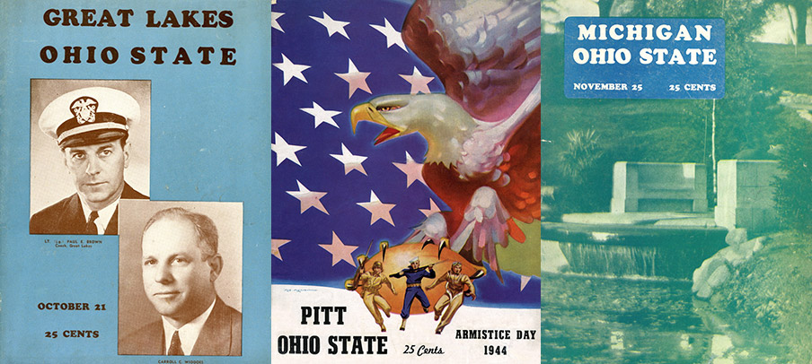Football game programs from Ohio State's 1944 season.