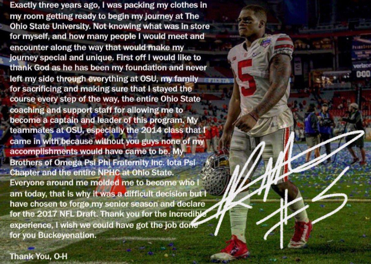 Raekwon McMillan declares for NFL Draft