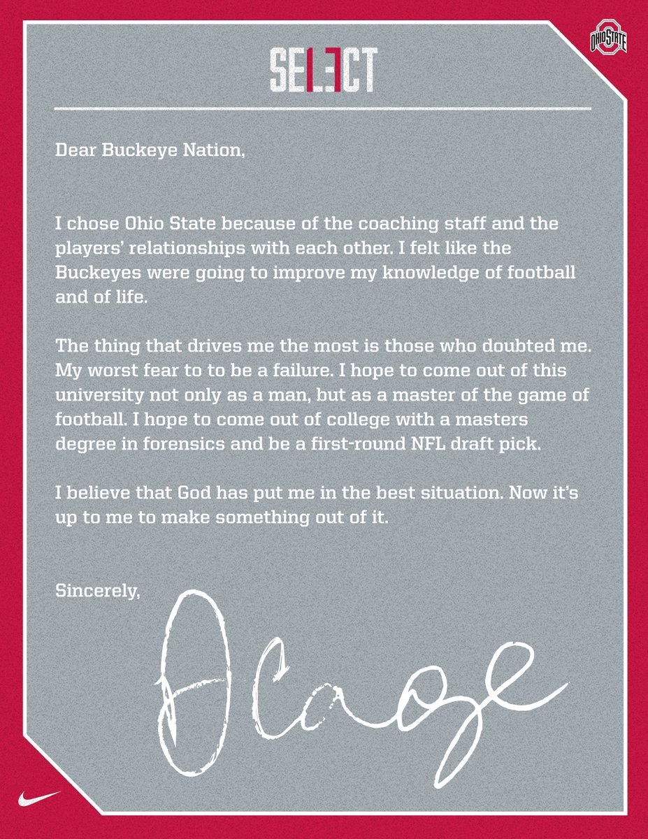 Cage's Letter to Buckeye Nation