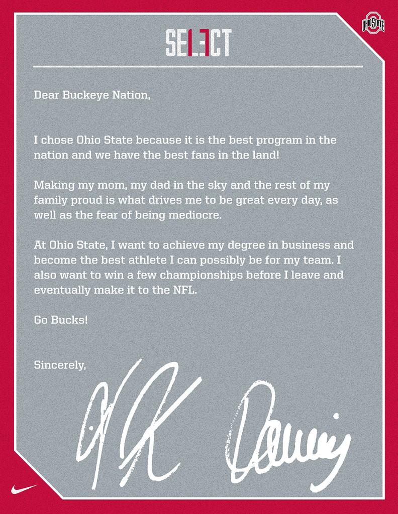 J.K. Dobbins letter
