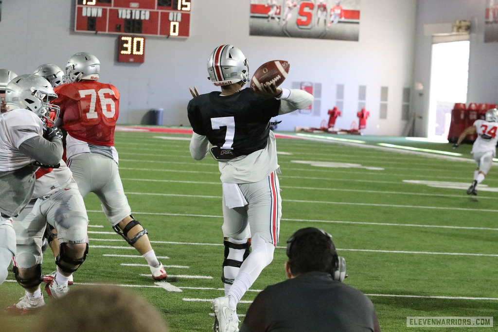 Dwayne Haskins throwing the football during spring practice.