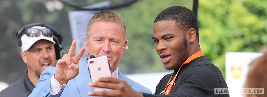 Five-star defensive end prospect Micah Parsons on the set of College GameDay with Kirk Herbstreit