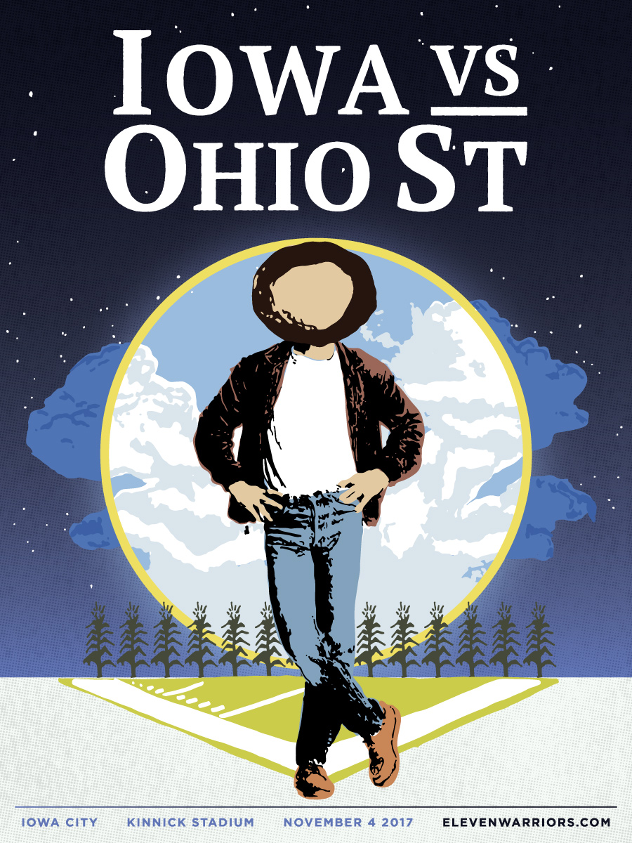 Brutus drives on down the Field (of Dreams) in this week's game poster.