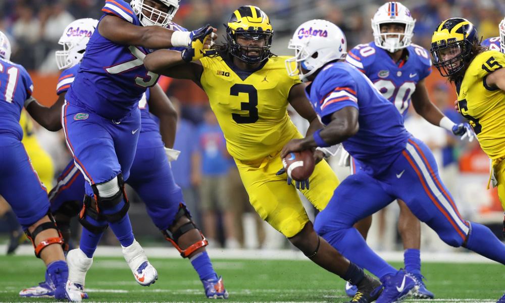 Sep 2, 2017; Arlington, TX, USA; Michigan Wolverines defensive end Rashan Gary (3) pressures Florida Gators quarterback Malik Zaire (8) in the second half at AT&T Stadium. Mandatory Credit: Matthew Emmons-USA TODAY Sports