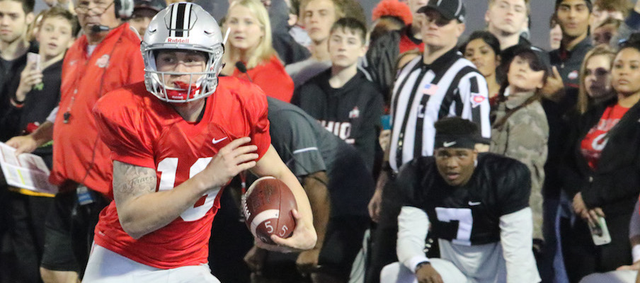 Tate Martell runs the ball during 2017 Student Appreciation Day practice.