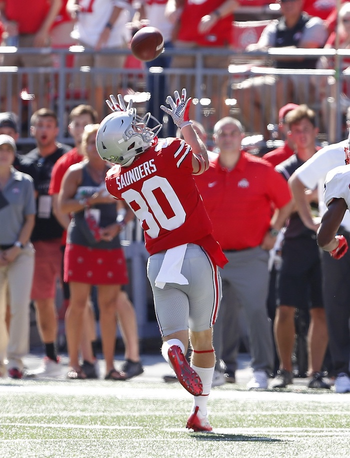 Sep 23, 2017; Columbus, OH, USA; Ohio State Buckeyes wide receiver C.J. Saunders (80) hauls in a pass during the fourth quarter against the UNLV Rebels at Ohio Stadium. Ohio State won 54-21. Mandatory Credit: Joe Maiorana-USA TODAY Sports