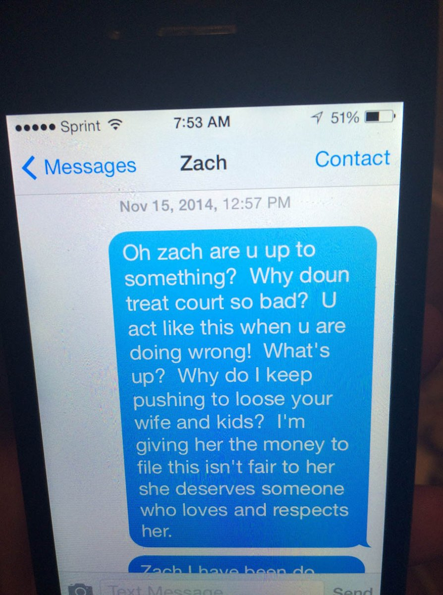 Text messages between Tina Carano and Zach Smith