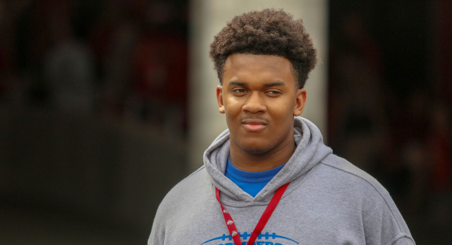 St. Xavier's Paris Johnson Jr. was in attendance for Ohio State's spring game on April 14, 2018.