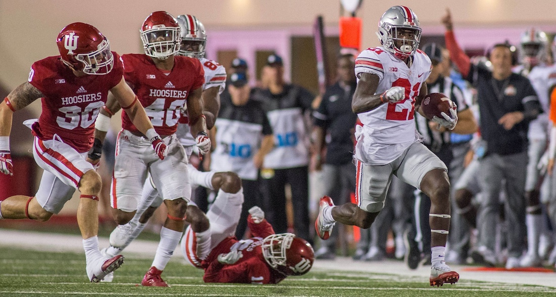 Aug 31, 2017; Bloomington, IN, USA; Ohio State Buckeyes wide receiver Parris Campbell (21) runs for a touchdown after a catch in the second half of the game against the Indiana Hoosiers at Memorial Stadium. Mandatory Credit: Trevor Ruszkowski-USA TODAY Sports