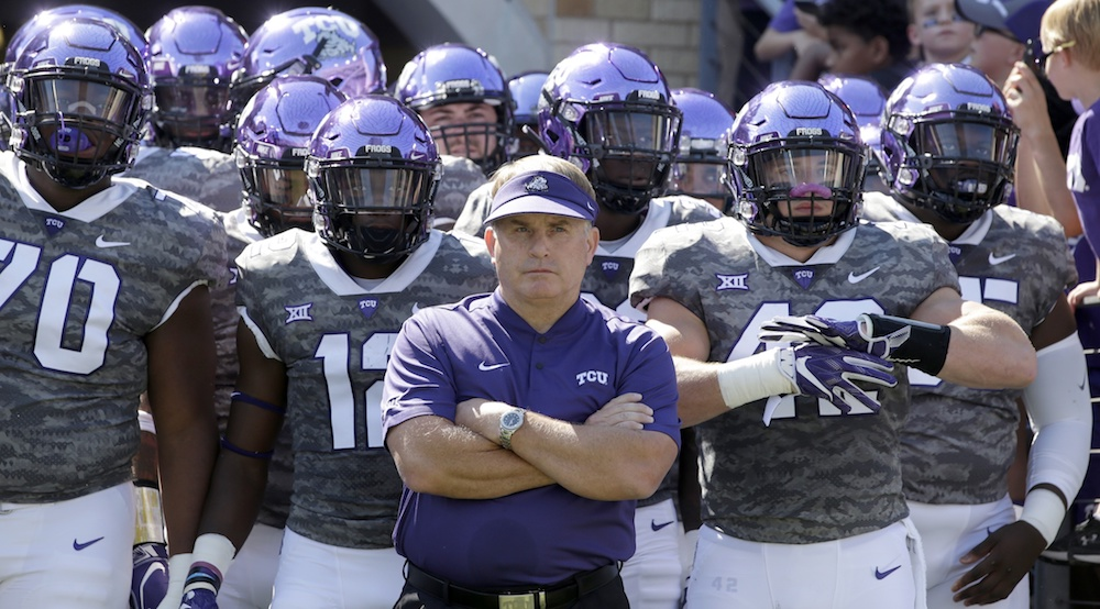 Sep 1, 2018; Fort Worth, TX, USA; TCU Horned Frogs head coach Gary Patterson and his players wait to take the field before the game against the Southern University Jaguars at Amon G. Carter Stadium. Mandatory Credit: Tim Heitman-USA TODAY Sports