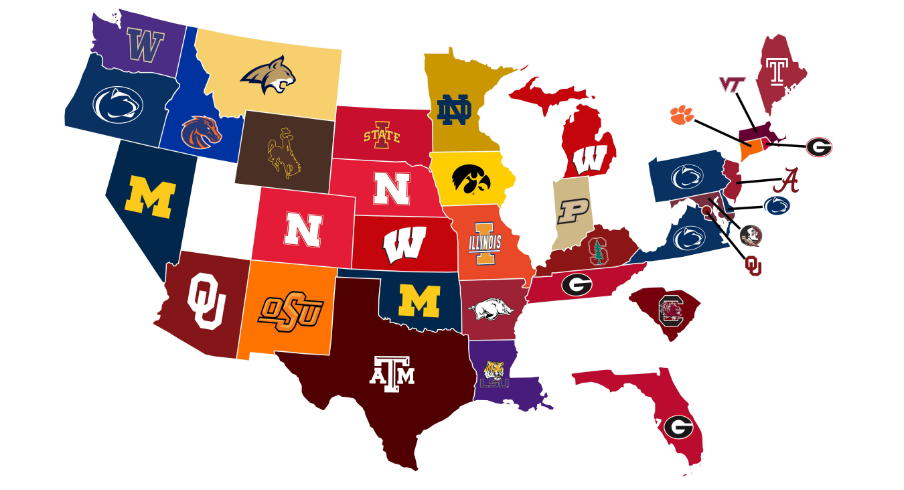 Who has the top recruit in each state committed to them?