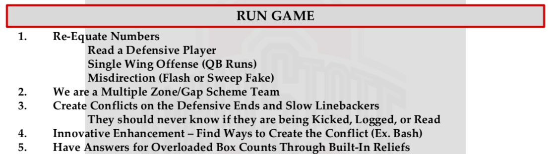 Ohio State Run Game philosophy
