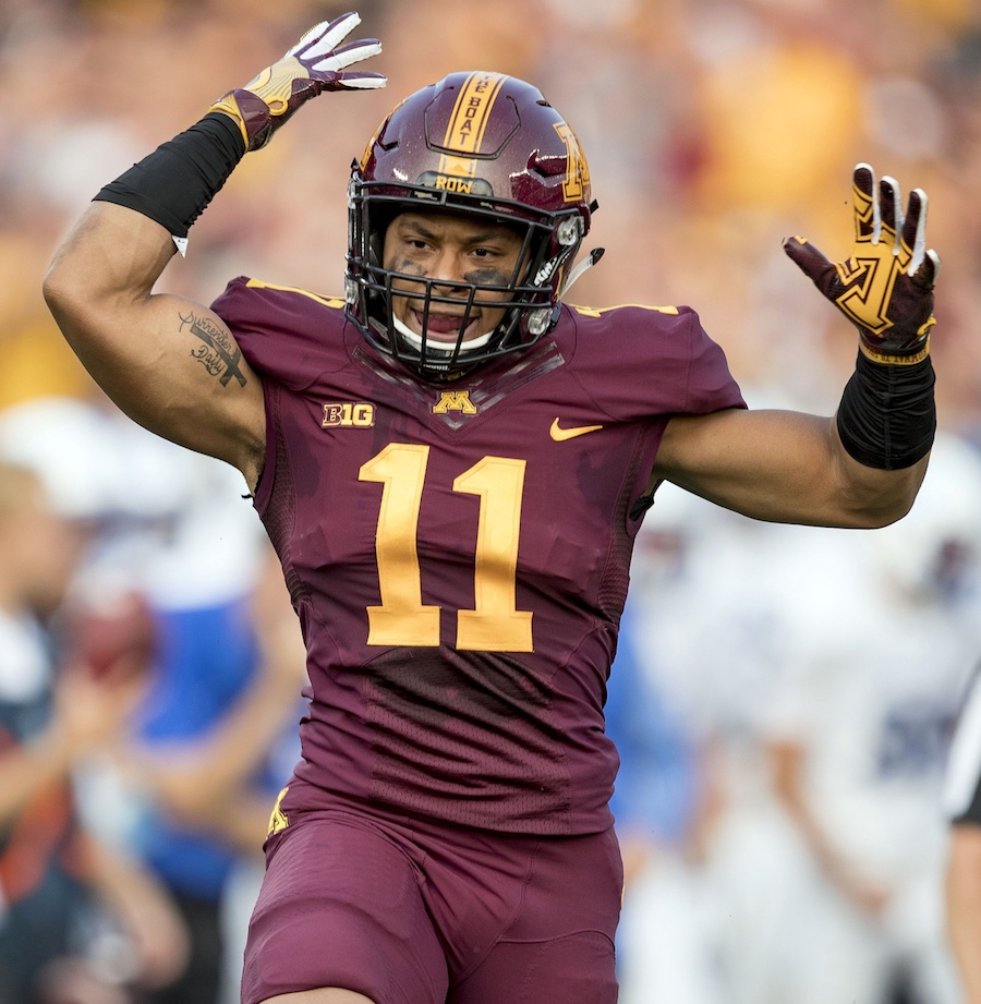 Aug 31, 2017; Minneapolis, MN, USA; Minnesota Golden Gophers defensive back Antoine Winfield Jr. (11) celebrates after making a tackle for loss in the first quarter against the Buffalo Bulls at TCF Bank Stadium. Mandatory Credit: Jesse Johnson-USA TODAY Sports