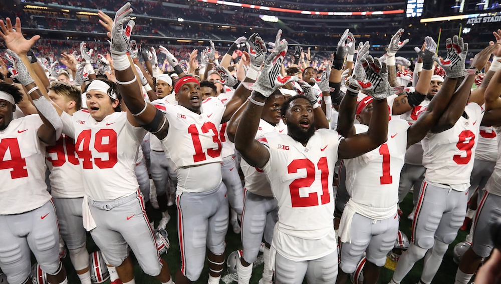 Sep 15, 2018; Arlington, TX, USA; Ohio State Buckeyes receiver Parris Campbell (21) celebrates with team mates while singing 'Carmen Ohio' against the Texas Christian Horned Frogs at AT&T Stadium. Mandatory Credit: Matthew Emmons-USA TODAY Sports