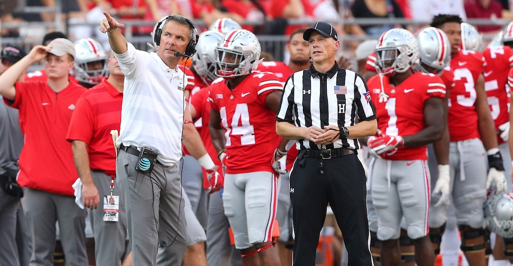 Oct 6, 2018; Columbus, OH, USA; Ohio State Buckeyes head coach Urban Meyer disputes a call while reviewing the replay during the second quarter at Ohio Stadium. Mandatory Credit: Joe Maiorana-USA TODAY Sports