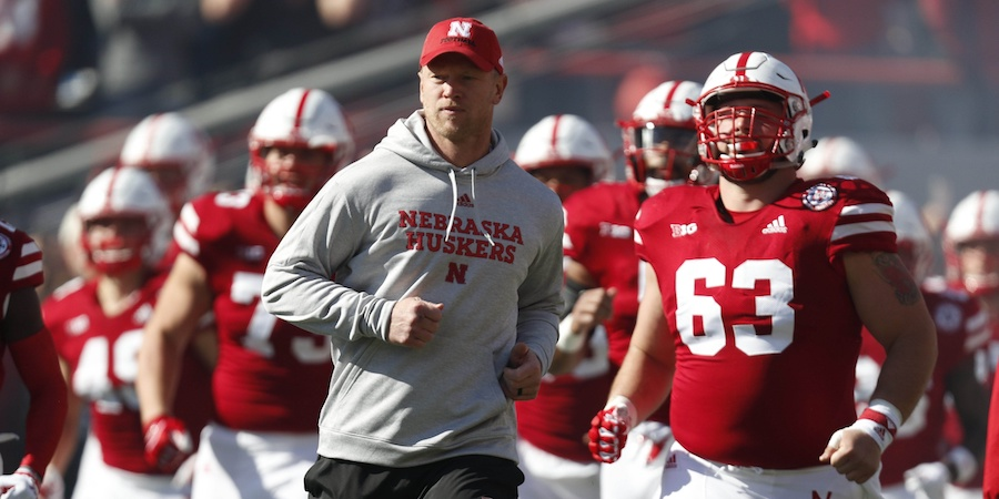 Oct 20, 2018; Lincoln, NE, USA; Nebraska Cornhuskers head coach Scott Frost leads his team onto the field prior to the game against the Minnesota Golden Gophers at Memorial Stadium. Mandatory Credit: Bruce Thorson-USA TODAY Sports