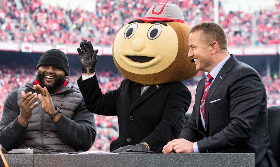 Nov 26, 2016; Columbus, OH, USA; Ohio State Buckeyes former lineman Orlando Pace (l) with ESPN College Gameday commentators Lee Corso and Kirk Herbstreit during the pregame broadcast before the game between the Ohio State Buckeyes and Michigan Wolverines at Ohio Stadium. Ohio State won the game 30-27 in double overtime. Mandatory Credit: Greg Bartram-USA TODAY Sports